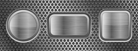 Metal buttons on perforated texture. Vector 3d illustration Ilustração