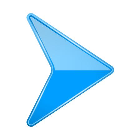 Blue shiny 3d arrow. Vector illustration isolated on white background Vektorgrafik