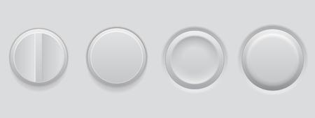 White plastic buttons. 3d web interface elements. Vector illustration