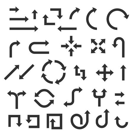 Black flat arrows set. Bold style. Vector illustration isolated on white background Vecteurs