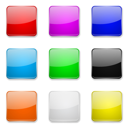 Square glass buttons. Colored set of 3d icons. Vector illustration isolated on white background