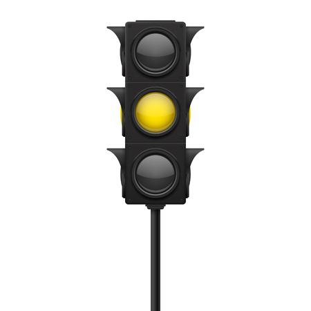 Ampeln. Gelbe Lampe EIN - Warnschild. Vektor 3d Illustration lokalisiert auf weißem Hintergrund