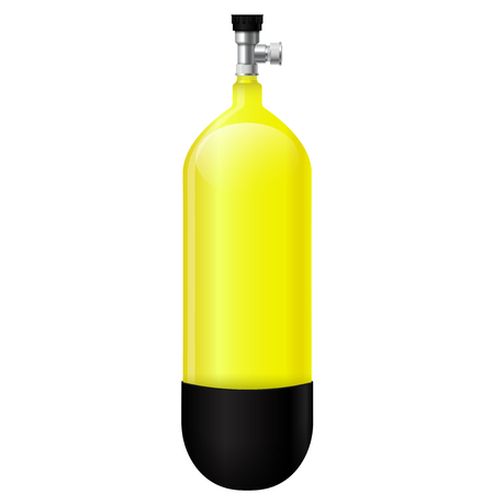 Yellow scuba cylinder. Vector 3d illustration isolated on white background