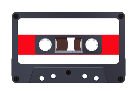 Audio cassette. Vector illustraton isolated on white background