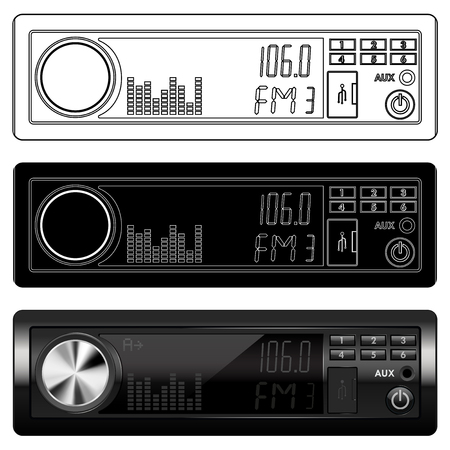 Car radio device. Black and white icons and 3d model