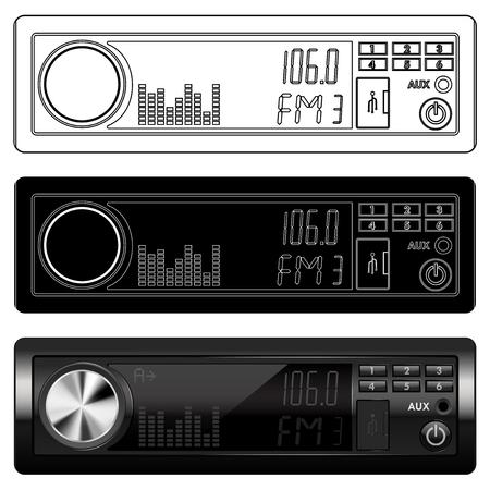 Autoradio apparaat. Zwart-wit pictogrammen en 3D-model
