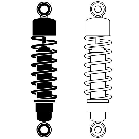 Shock absorber. Black and white outline icons. Vector illustration isolated on white background