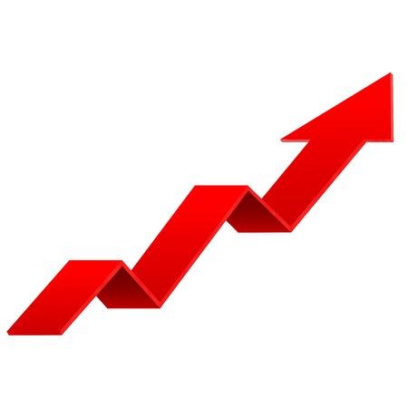 Freccia SU rossa. Segno di indicazione finanziaria. Illustrazione 3d vettoriale isolato su sfondo bianco