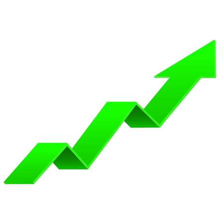 Green UP arrow. Financial indication sign. Vector 3d illustration isolated on white background