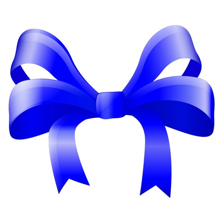 Blue silky ribbon bow. Vector 3d illustration isolated on white background