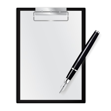 Paper journal. Blank note pad with ink pen. Vector illustration isolated on white background