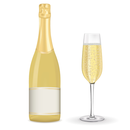 Bottle and glass of champagne Illustration