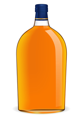 Bottle of brandy. Vector 3d illustration isolated on white background Ilustrace