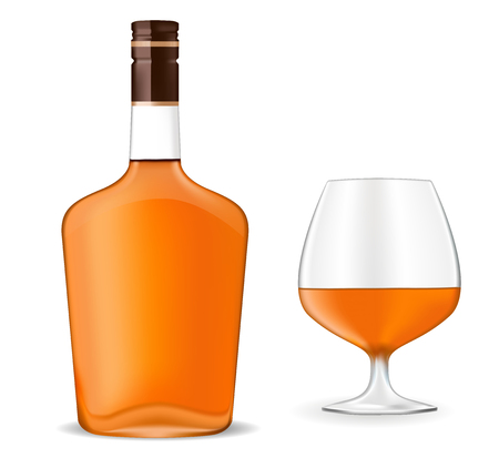Bottle of brandy and a snifter. Vector 3d illustration isolated on white background Ilustrace