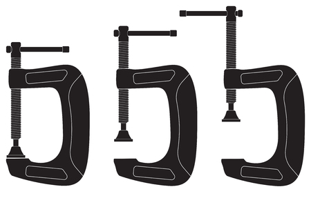 Clamp. Black icons. Vector illustration isolated on white background Ilustração