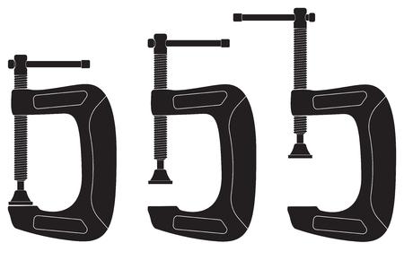 Clamp. Black icons. Vector illustration isolated on white background Illustration