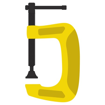Yellow clamp. Vector illustration isolated on white background Imagens - 109685338