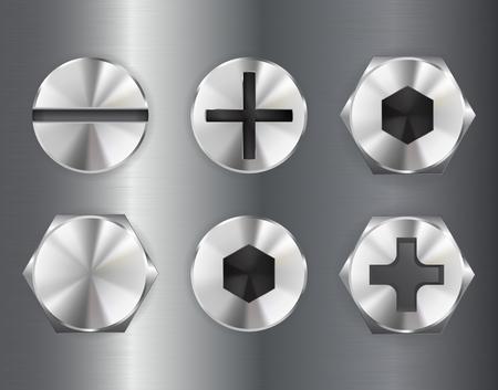 금속 볼트 구동 헤드. 산업 부분. 벡터 3d 일러스트