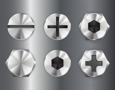 Metal bolt drive head. Industrial part. Vector 3d illustration Illustration