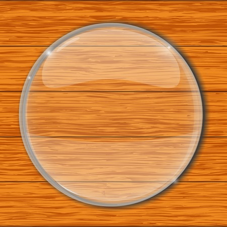 Zooming glass on wooden background. Vector 3d illustration