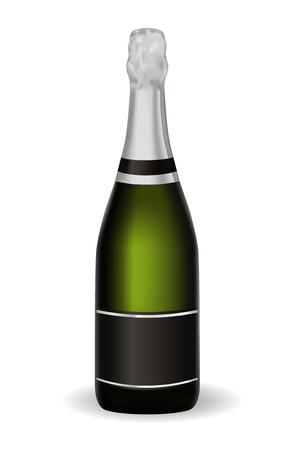 Eine Flasche Champagner. Vektor 3d Illustration lokalisiert auf weißem Hintergrund