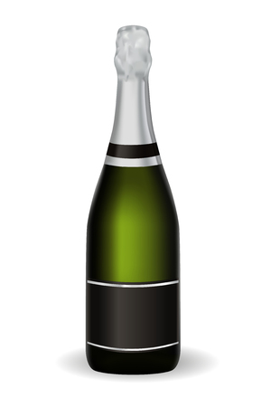 Bottle of champagne. Vector 3d illustration isolated on white background