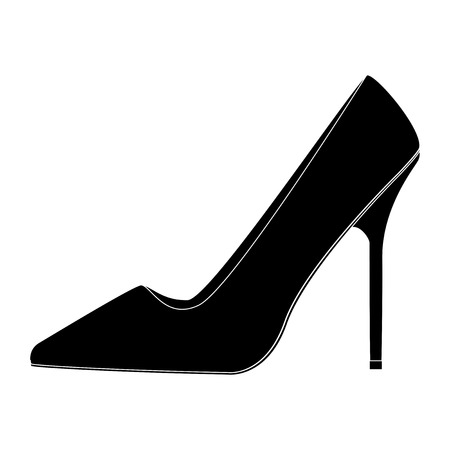 Women shoe. Black icon. Vector illustration isolated on white background Çizim