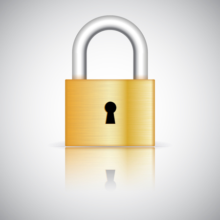 Padlock. Vector 3d illustration isolated on white background Ilustração