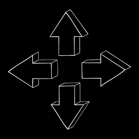Arrow hand drawn sketch. On black background. Vector illustration