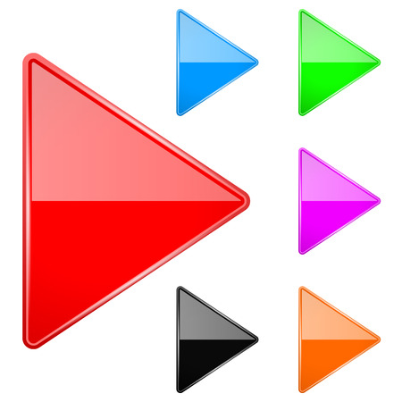 Colored shiny 3d arrows. Play icons. Vector illustration isolated on white background
