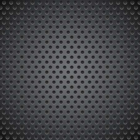 Black metal perforated background. Vector 3d illustration