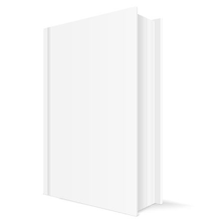 Book mockup. White vertical template with blank cover. Vector 3d illustration isolated on white background