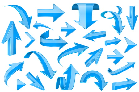 Nastri blu. Segni 3d lucidi. Illustrazione vettoriale isolato su sfondo bianco
