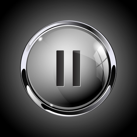 Pause button. 3d shiny gray icon for media. On gray background. Vector illustration