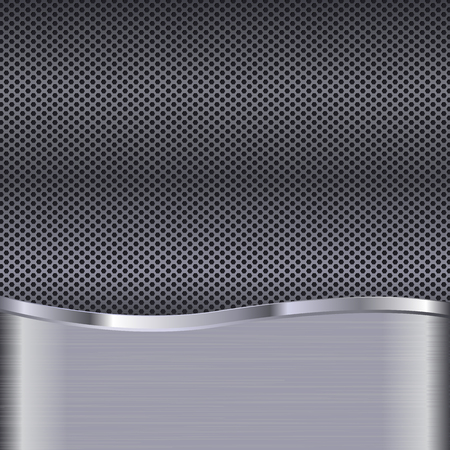 Metal background with perforation. Vector 3d illustration