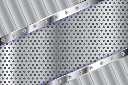 Metal perforated background with diagonal stripes. Vector 3d illustration