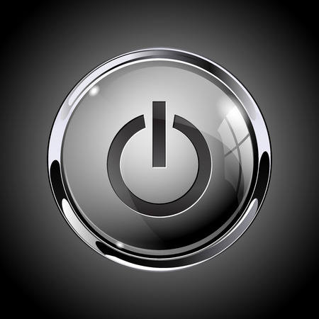 Power button. 3d shiny gray icon for media. On gray background. Vector illustration