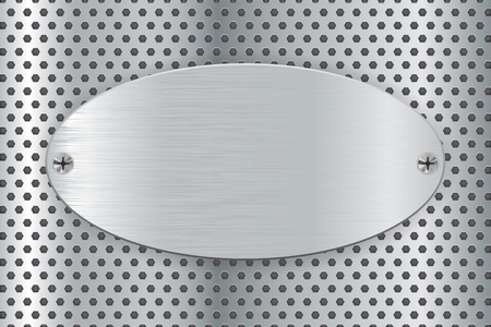 Metal perforated background with oval steel plate. Vector 3d illustration