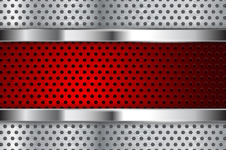 Metal perforated background with red element. Vector 3d illustration Banco de Imagens
