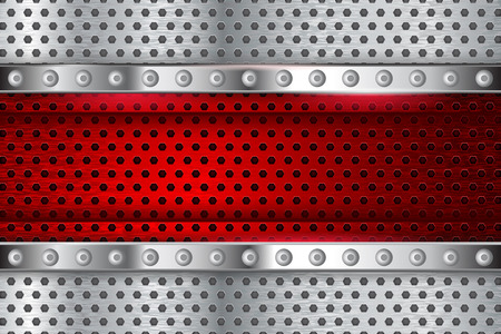 Metal perforated texture with red element. Vector 3d illustration