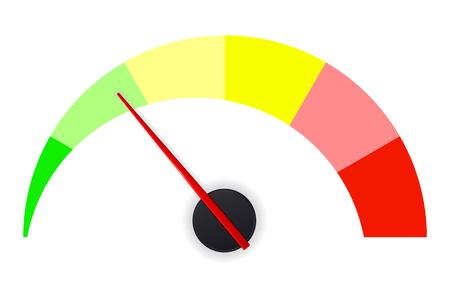Jauge de mesure pour la température, la pression, etc. Illustration vectorielle isolée sur fond blanc