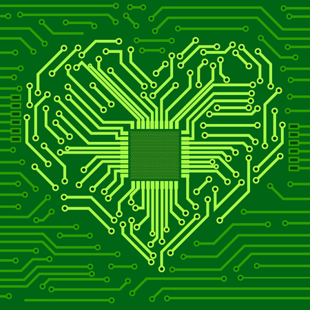 Computerchip met hartsymbool. Vector 3d illustratie Stockfoto - 109474250