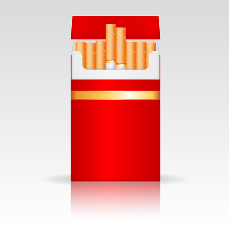 Red pack of cigarettes. Vector 3d illustration
