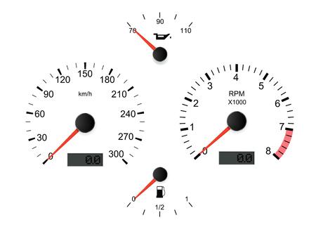 Conjunto de salpicadero de coche blanco. Ilustración vectorial 3d Ilustración de vector