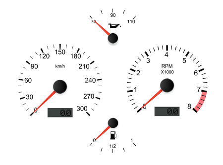 White car dashboard set. Vector 3d illustration