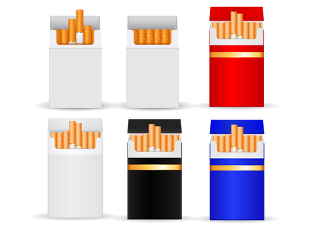 Pack of cigarettes. Set of colored boxes. Vector 3d illustration