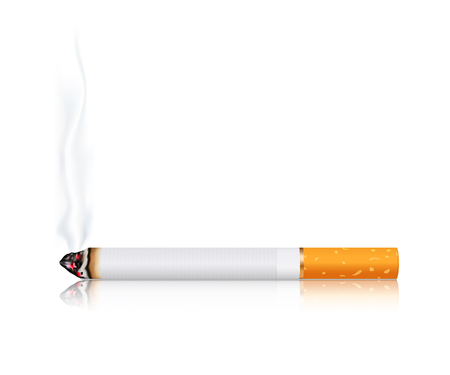 Burning cigarette. Vector 3d illustration isolated on white background