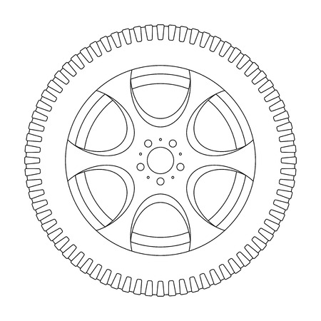 Wheel with tyre. Outline icon. Vector illustration isolated on white background Illustration
