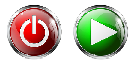 Glass round buttons. Power and play 3d icons
