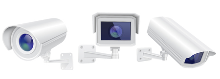 CCTV security camera. Set of surveillance devices. Vector 3d illustration isolated on white background